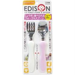 【EDISON】學習餐具組(粉/白)