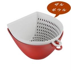 【曙産業】簸箕瀝水碗籃-紅