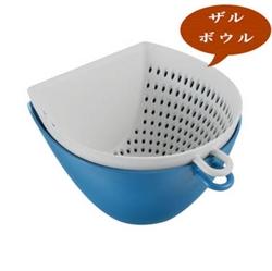【曙産業】簸箕瀝水碗籃-藍