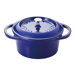 【法國藍帶】鑄鐵琺瑯鍋 22cm (藍)