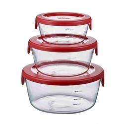 【HARIO】圓形耐熱玻璃保鮮盒3入組(紅)