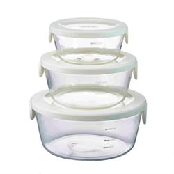 【HARIO】圓形耐熱玻璃保鮮盒3入組(白)