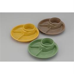 【INOMATA】BBQ三色組食物碟-圓形