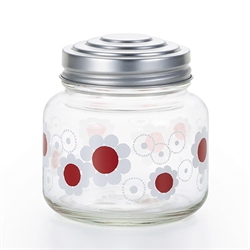 【ADERIA】昭和復古玻璃糖果罐 (紅白花)