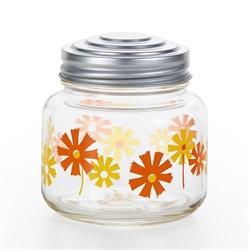 【ADERIA】昭和復古玻璃糖果罐 (黃橘花)